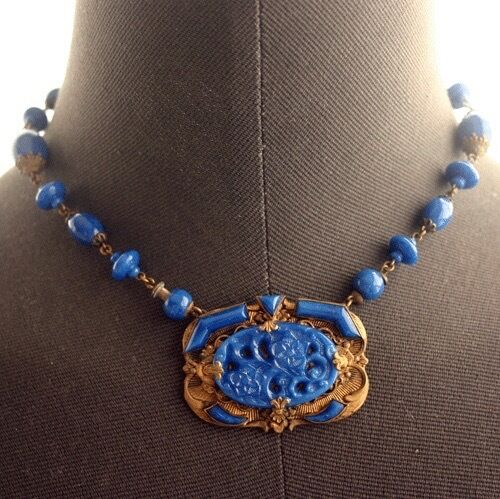 Vintage Art Deco Lapis Blue Czech Glass Necklace Ebay