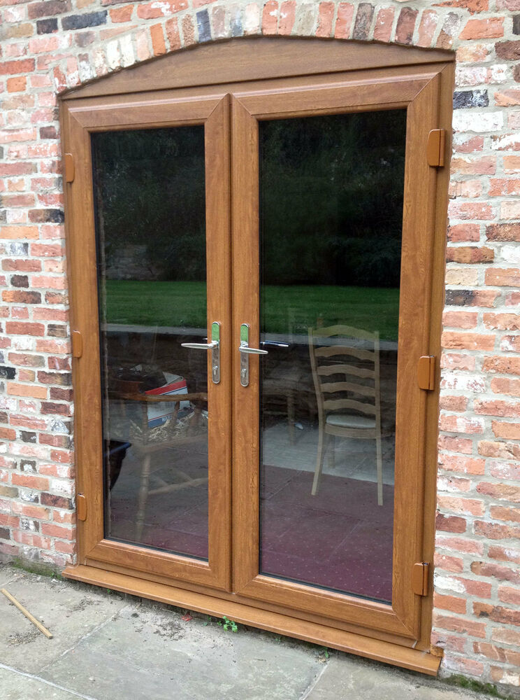 4ft 6ft golden oak upvc french doors new made to for Wood effect upvc french doors