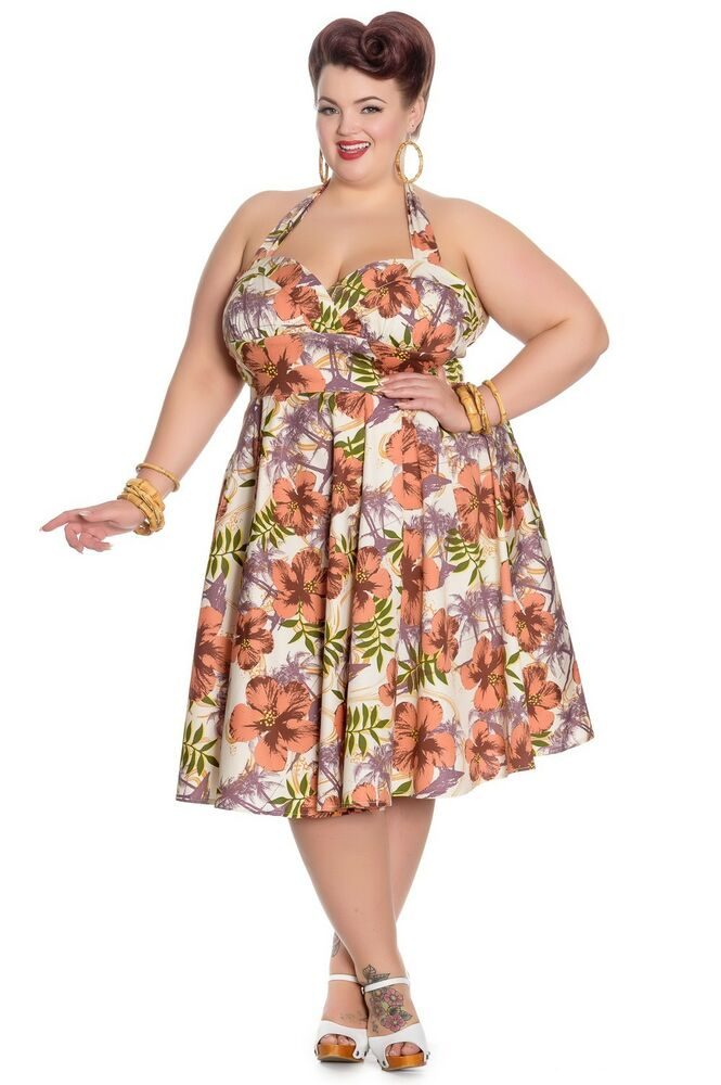 hell bunny kaila tropical palm tree dress plus size