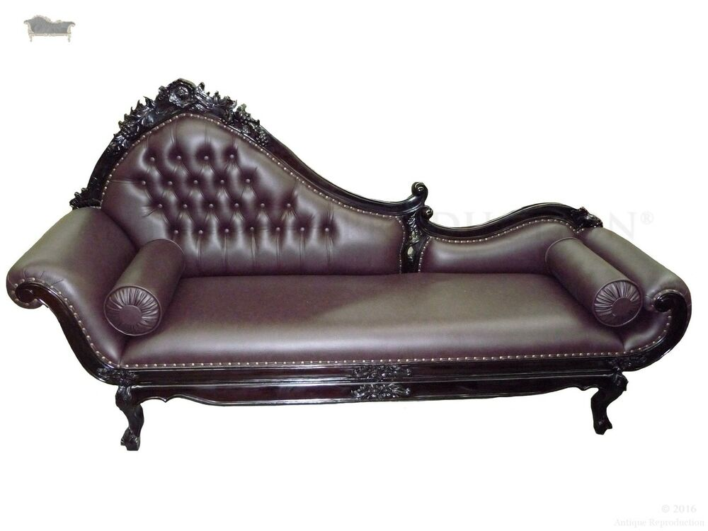 Chaise lounge sofa vintage gothic baroque longue french for Antique wooden chaise lounge