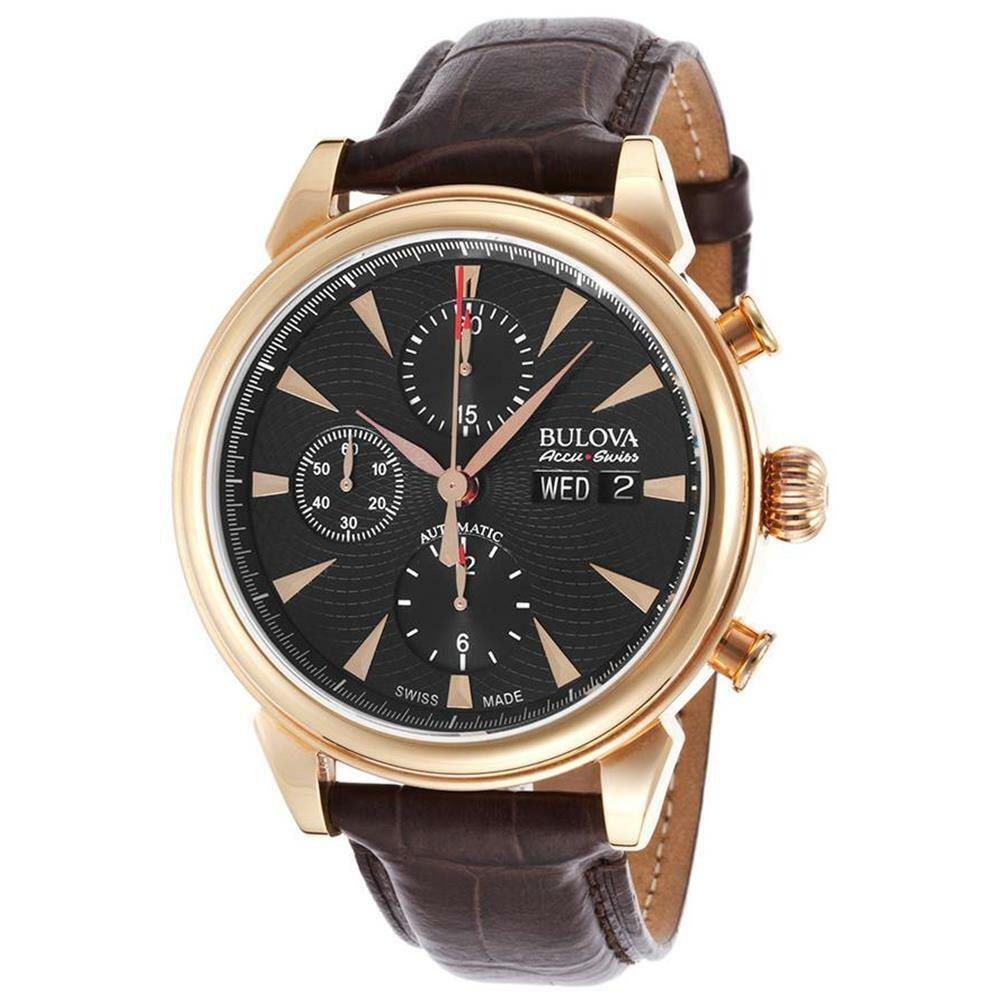 Bulova accu swiss 64c105 gemini collection automatic leather chronograph watch ebay for Watches bulova