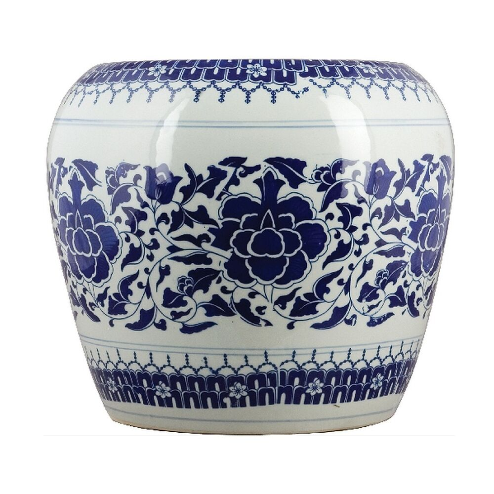 Porcelain Garden Stool Blue White Floral Asian Chinese