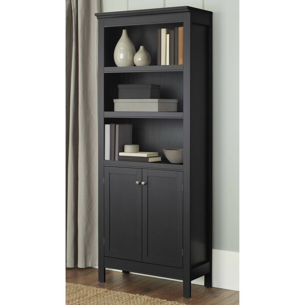 Bookcase with doors 3 shelf storage organizer vertical for Wood bookcase with doors