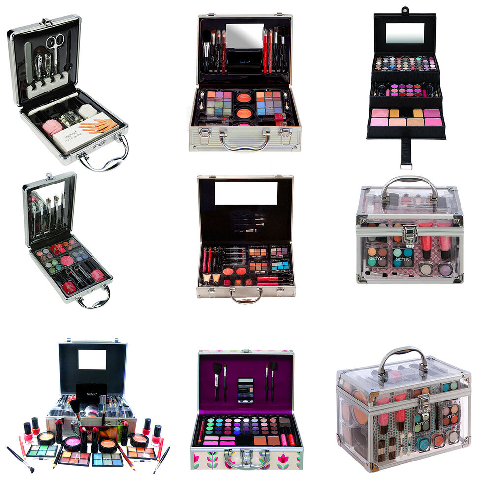 82 piece vanity case make up set makeup box beauty cosmetic gift xmas storage ebay. Black Bedroom Furniture Sets. Home Design Ideas