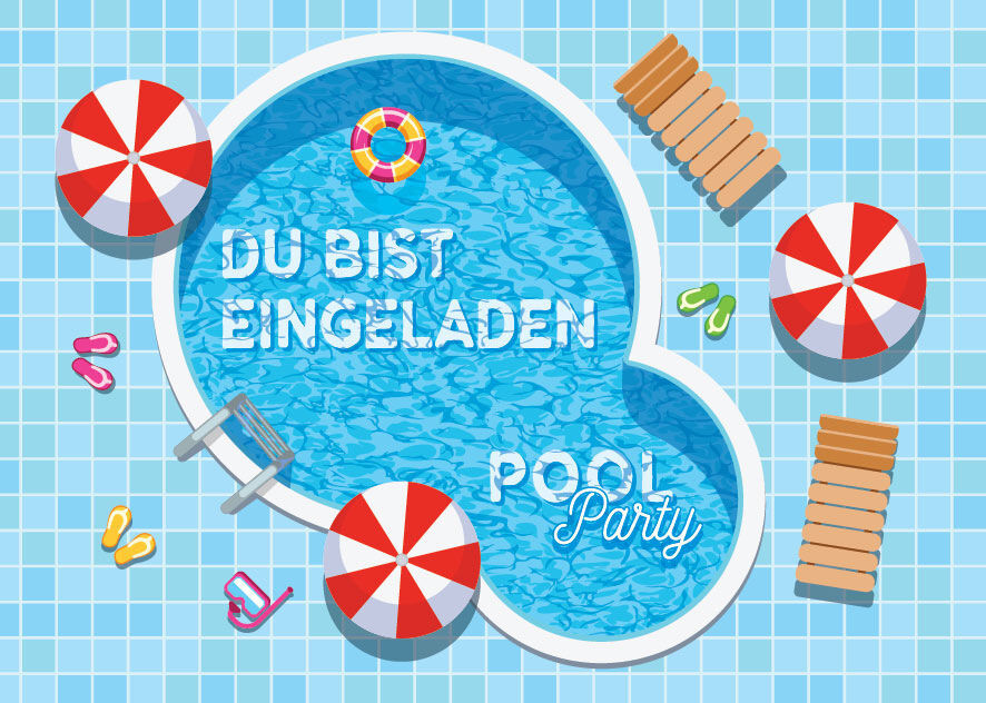 einladungskarten einladungen kinder geburtstag schwimmbad party pool party ebay. Black Bedroom Furniture Sets. Home Design Ideas