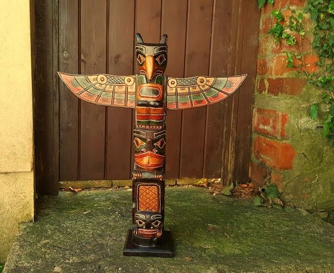 Wooden Totem Pole 60cm Hand Carved Garden Ornament Statue