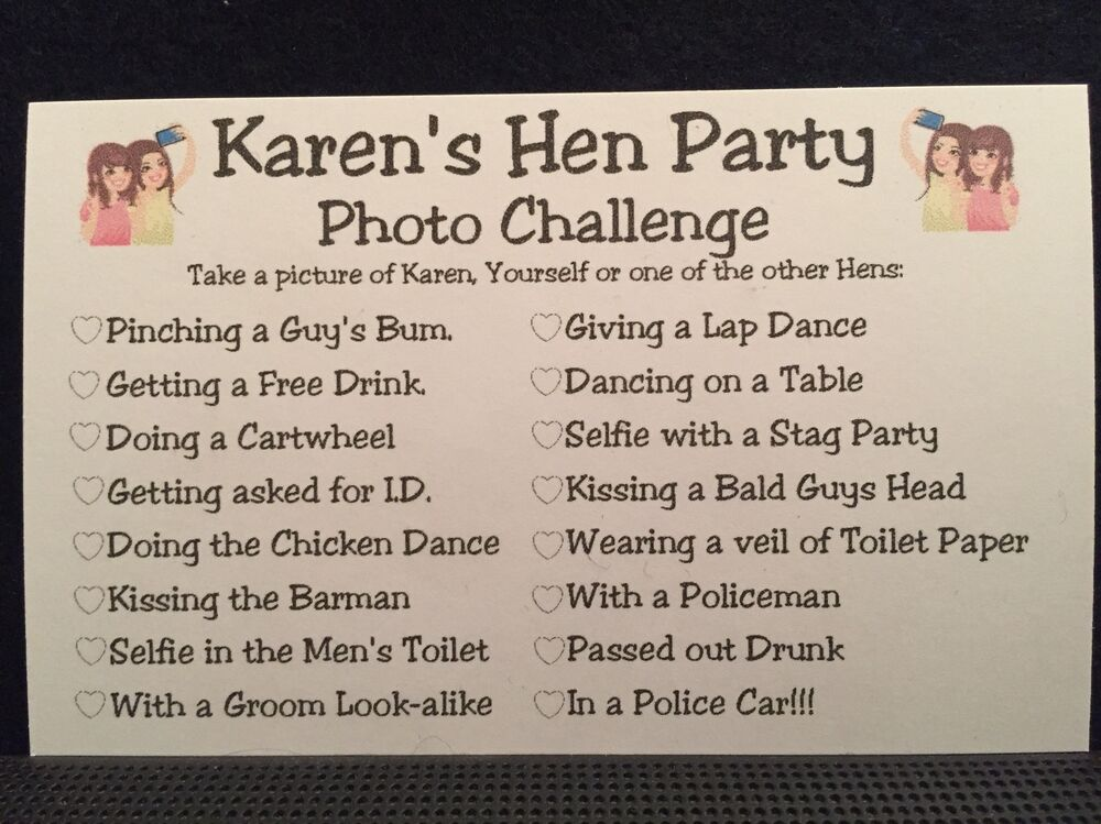 Personalised Hen Night Party Photo Challenge Game Free