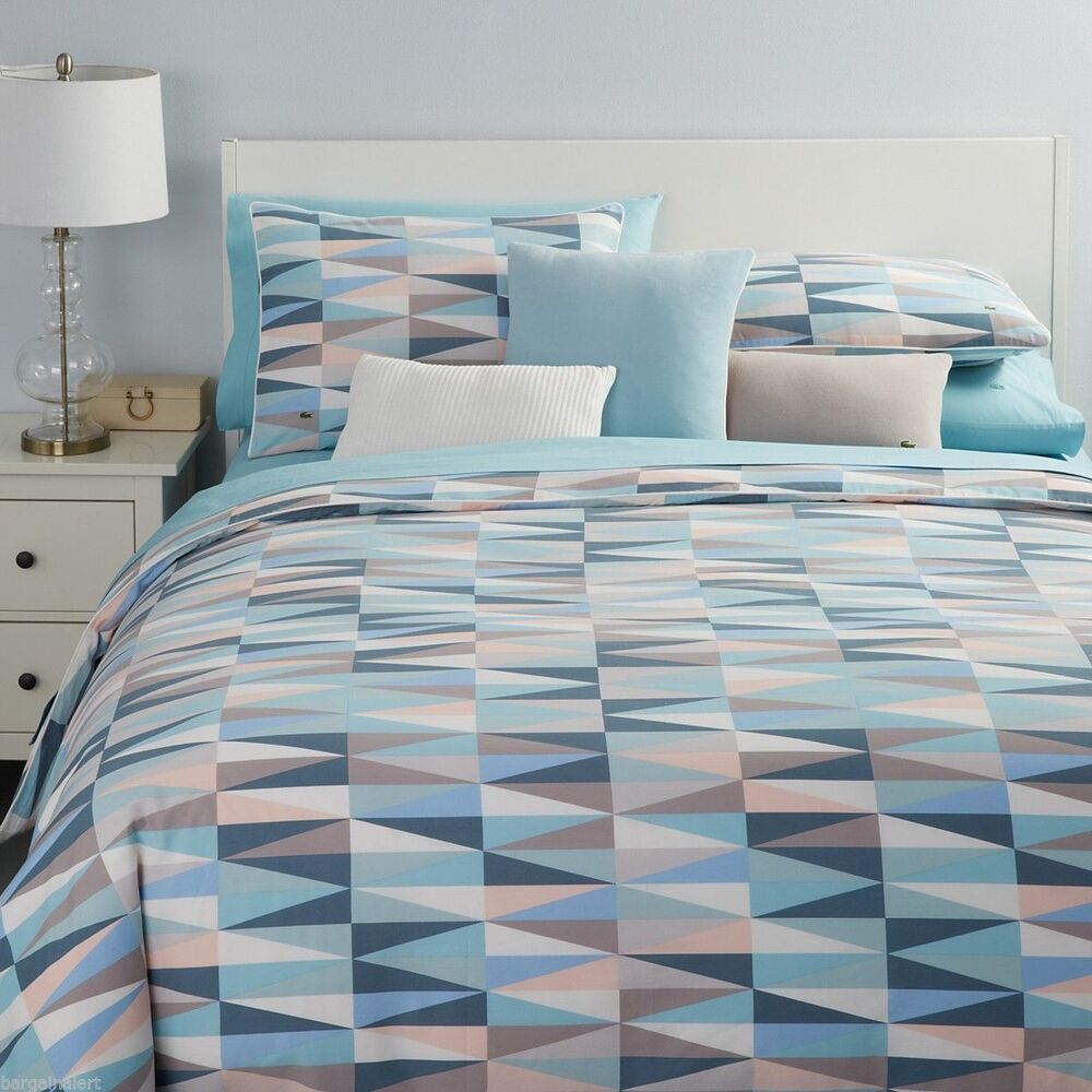 new lacoste malmi king duvet cover sham set teal gray blue seafoam triangles geo ebay. Black Bedroom Furniture Sets. Home Design Ideas
