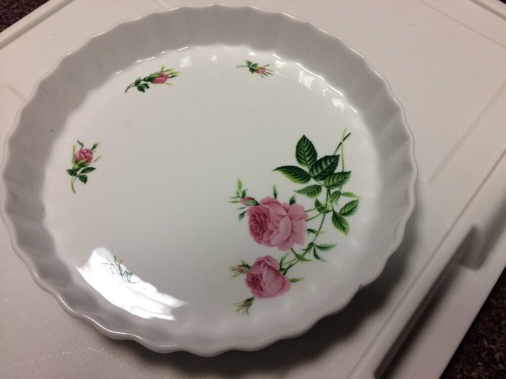 Christine Holm Ceramic Quiche Tart Pan Fluted Pink Rose