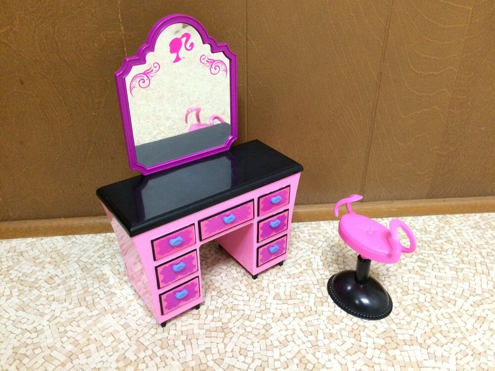 barbie doll my dream house glam home vanity mirror chair set bedroom