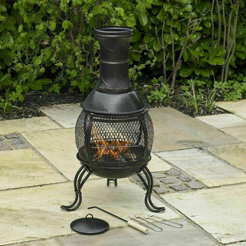 Chiminea Burner: BLACK STEEL OUTDOOR CHIMINEA BRONZE GARDEN HEAT BBQ LOG