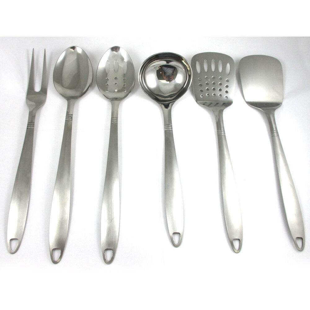 6 Stainless Steel Kitchen Cooking Utensil Set Serving