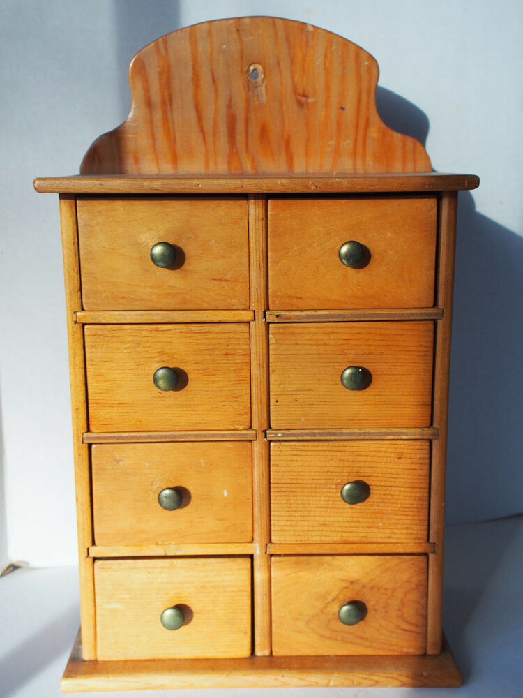 Antique Solid Walnut Wood Apothecary Spice 8 Drawers Chest