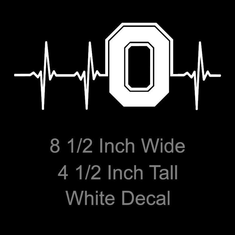 Ohio State Buckeyes Block O Heartbeat White Or Red Decal 8