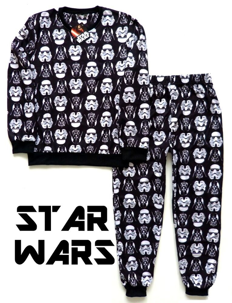 neu star wars herren fleece pyjama darth vader schlafanzug. Black Bedroom Furniture Sets. Home Design Ideas