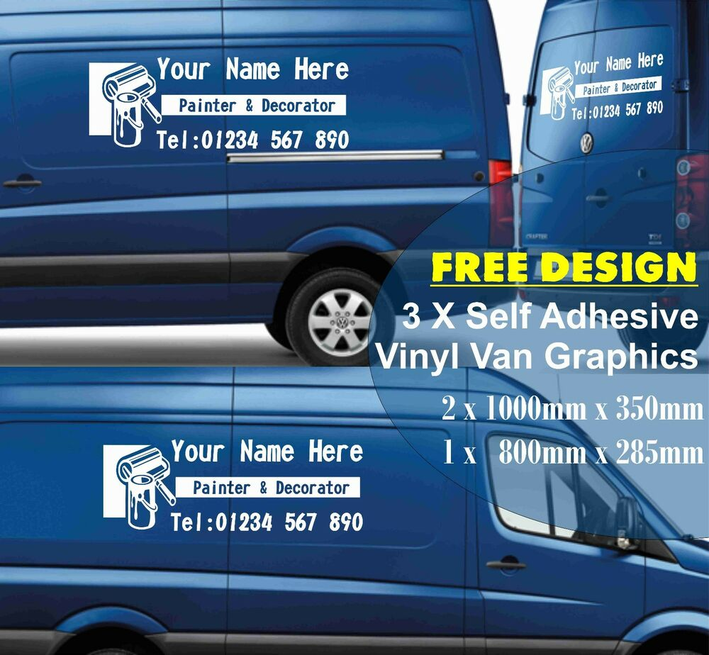 3 x custom van graphics kit self adhesive painter decorator sticker vinyl sign ebay