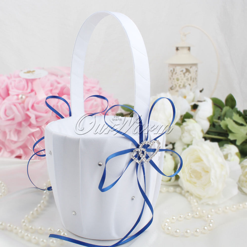 Double Heart Diamond Flower Girl Basket Wedding Favor Page Boy ...