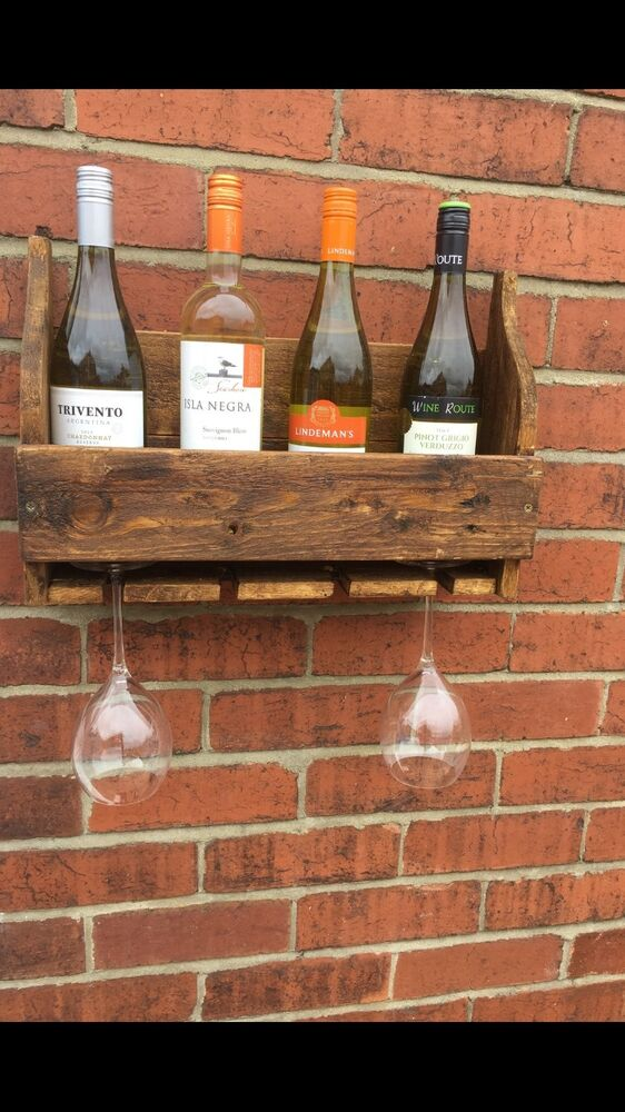 RECLAIMED PALLET WOOD WINE RACK AND WINE