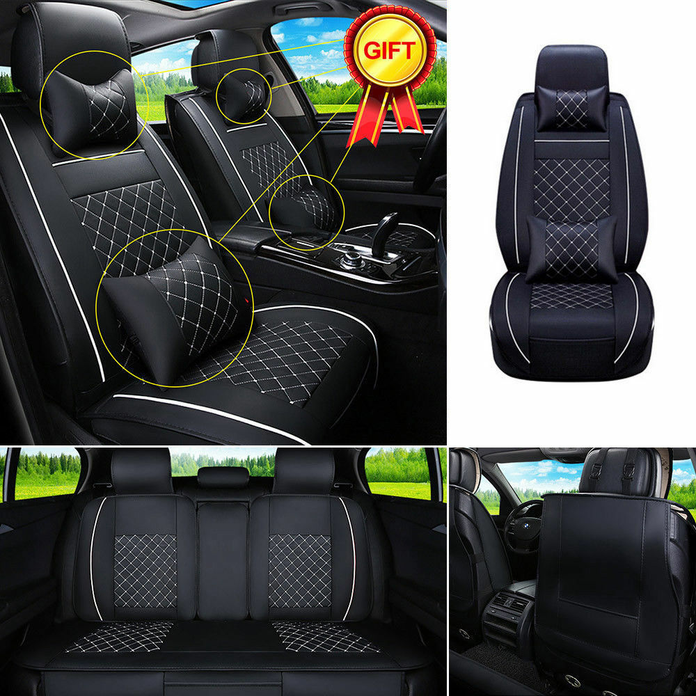 us m auto car 5 seats seat cover pu leather front rear w neck lumbar pillows ebay. Black Bedroom Furniture Sets. Home Design Ideas