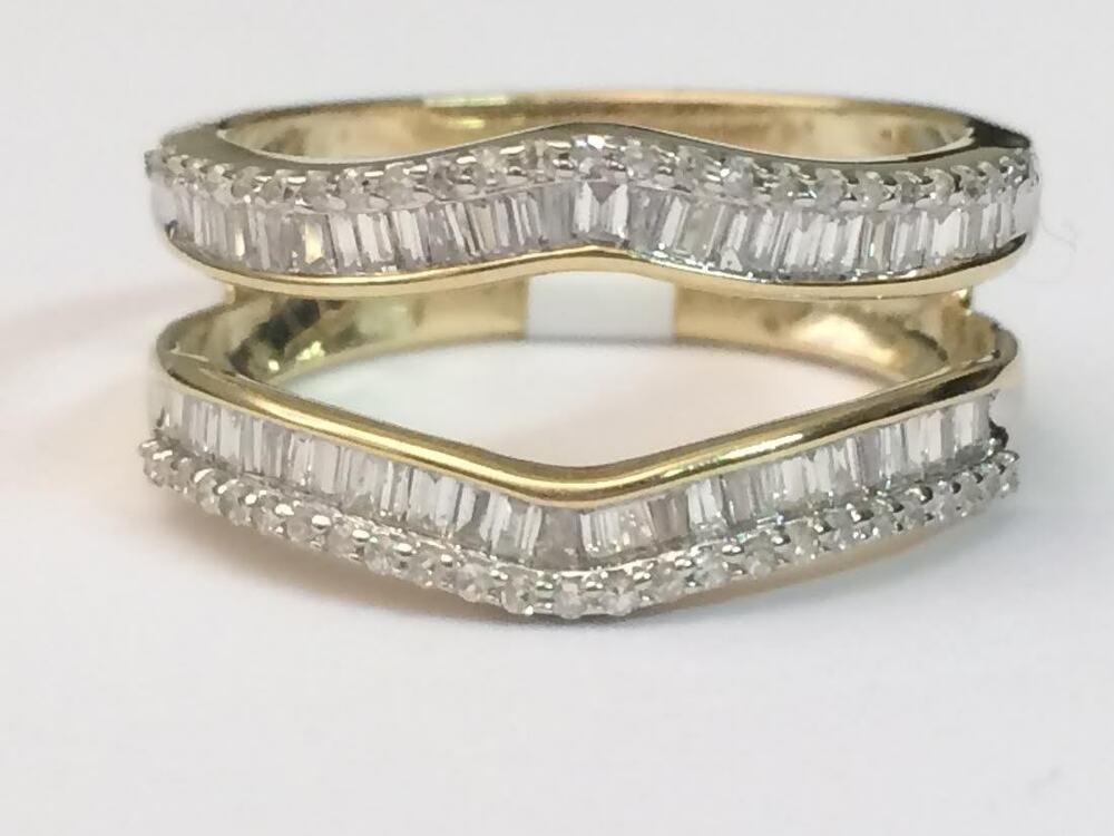 Yellow Gold Baguette Round Diamonds Ring Guard Wrap