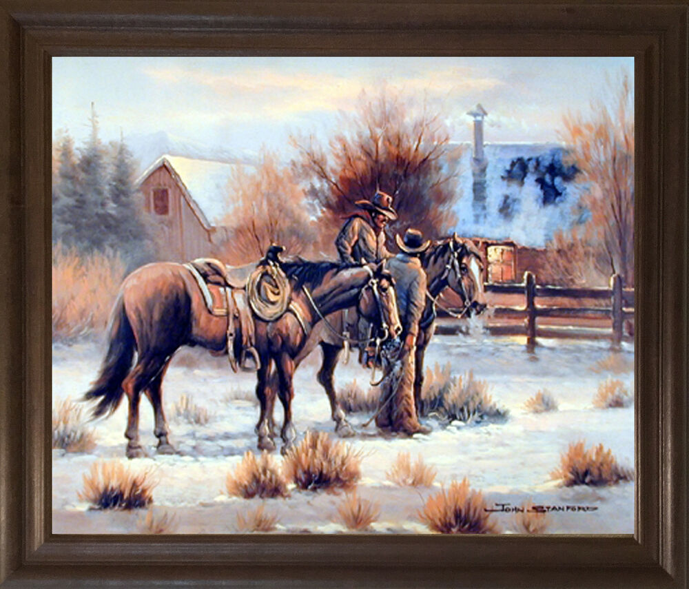 Western cowboy at first light wild west wall decor framed for Cowboy wall mural