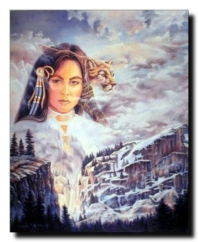 Native American Indian Princess And Mountain Lion Wall