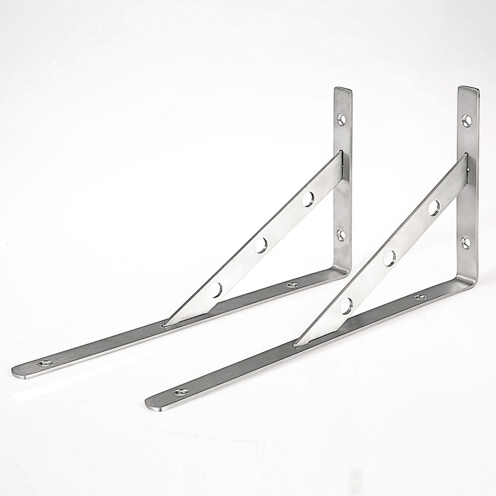 Lot 2 Pcs Stainless Steel Right Angle Support Shelf