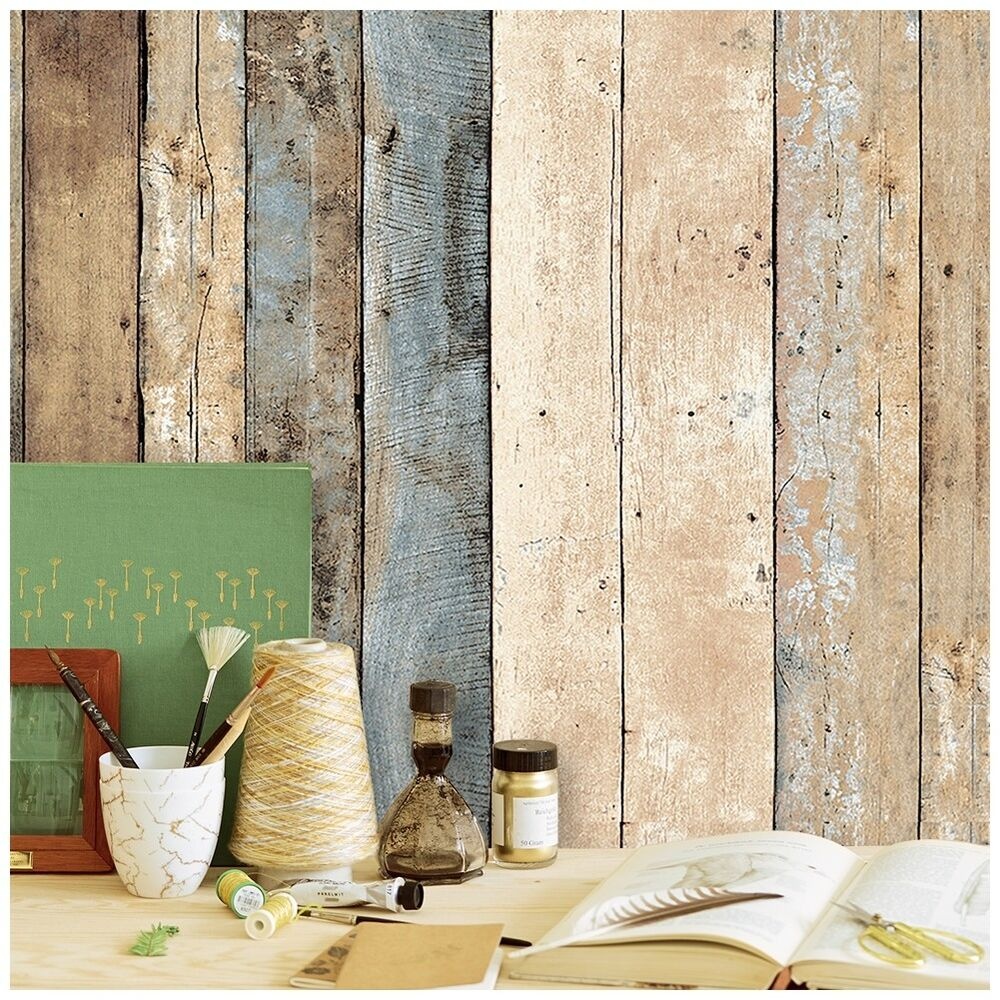 Vintage wood wallpaper rolls brown beige blue wooden plank for Home wallpaper wood