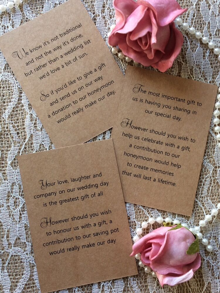 Money For Wedding Gift Uk : KRAFT WEDDING GIFT MONEY POEM SMALL CARDS ASKING FOR MONEY CASH FOR ...