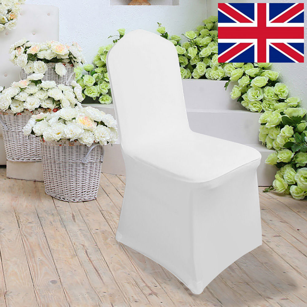 White Wedding Chair Covers For Sale Lycra Spandex Flat