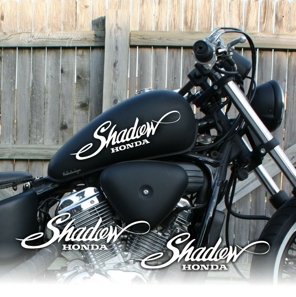 2 adesivi decal stickers da serbatoio honda shadow moto custom ebay. Black Bedroom Furniture Sets. Home Design Ideas