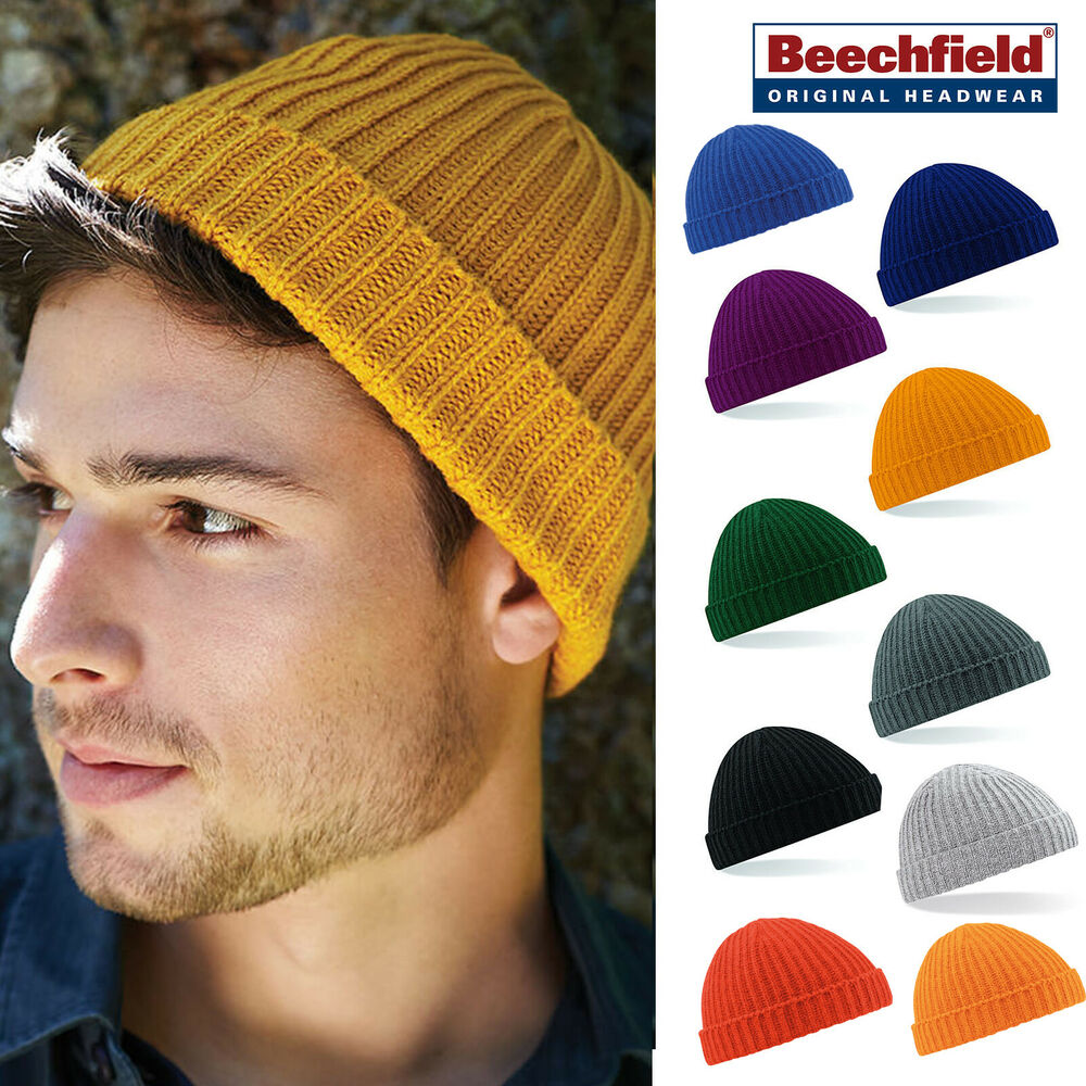 ba82c1d9c90 Details about Beechfield Slouch Beanie - Retro style ribbed knit hat  men women casual winter