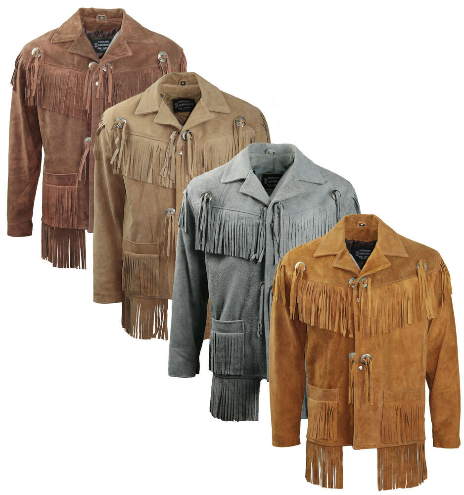 Mens suede leather motorcycle western midnight cowboy for Mens shirt with tassels