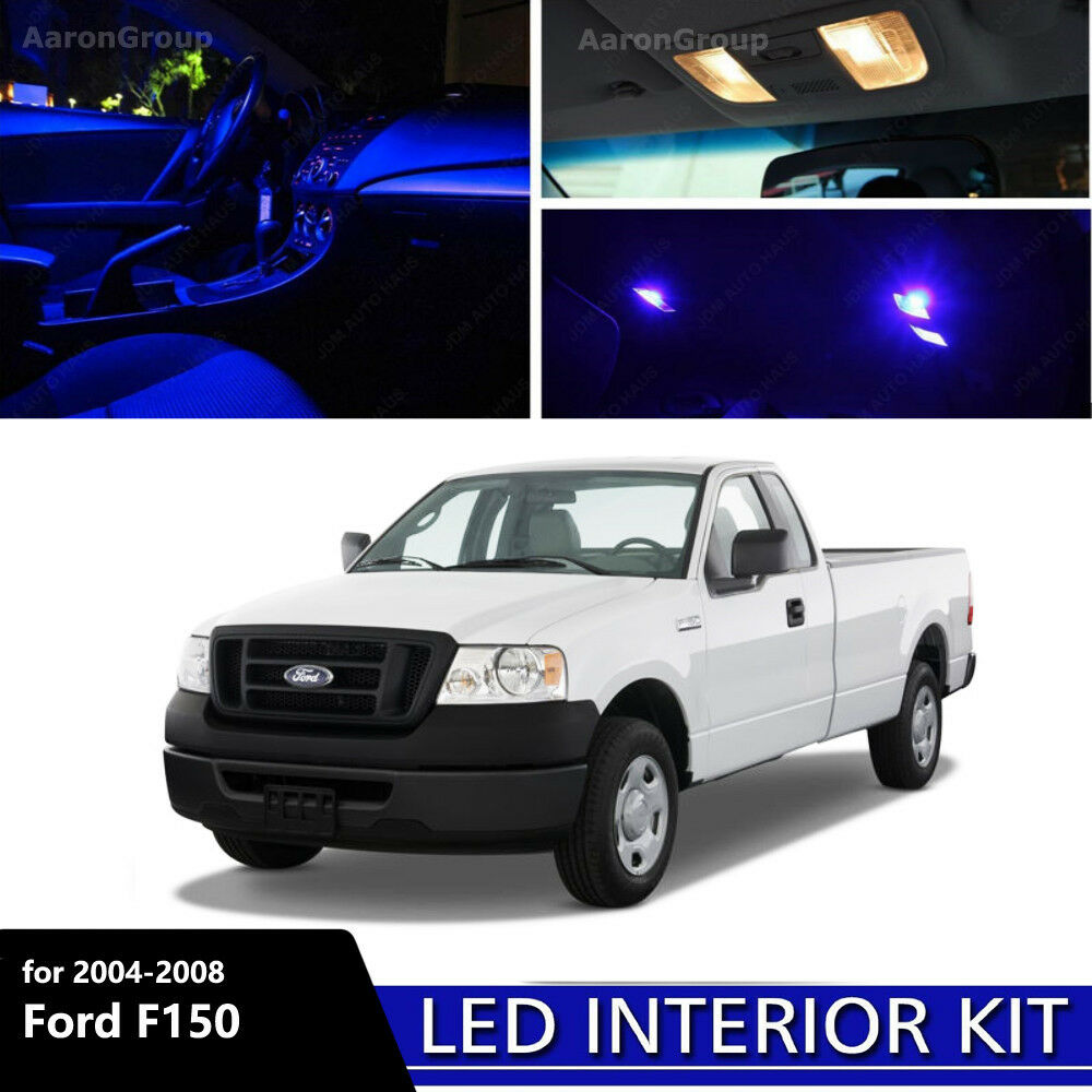 7pcs blue interior led light 2004 2008 ford f150 f 150. Black Bedroom Furniture Sets. Home Design Ideas