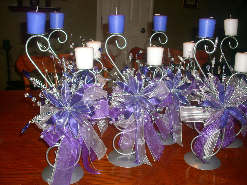 6 quinceanera wedding purple flower table center piece candle holder party decor ebay. Black Bedroom Furniture Sets. Home Design Ideas