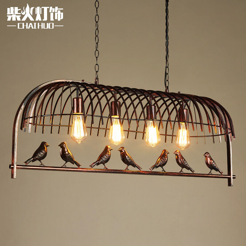 american cafe bird pendant cage e27 light ceiling lamp. Black Bedroom Furniture Sets. Home Design Ideas
