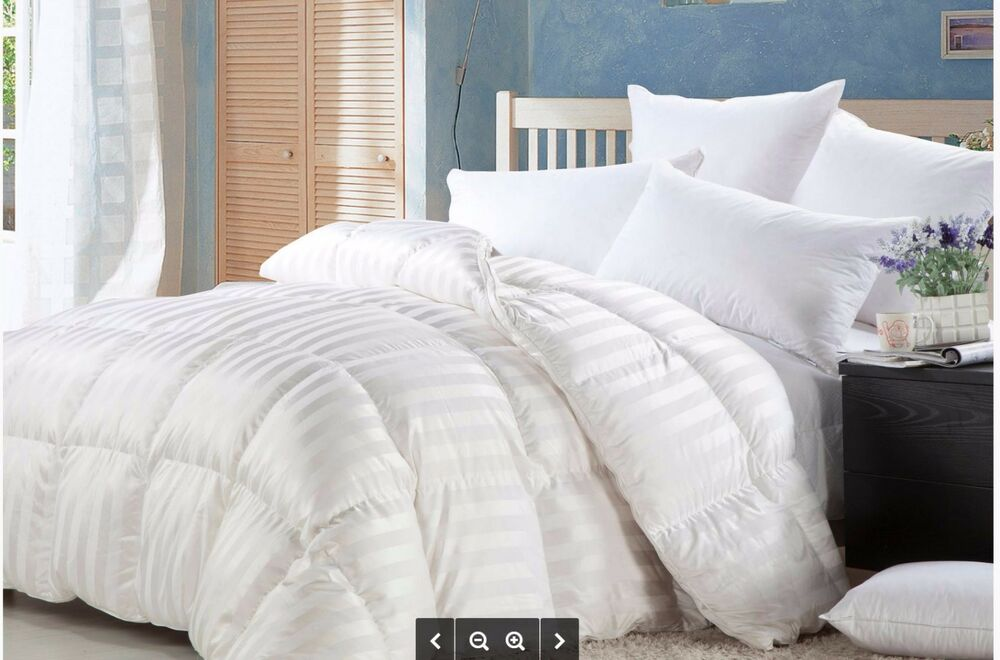 luxurious baffle box siberian goose down stripe comforter 1200tc twin queen king ebay. Black Bedroom Furniture Sets. Home Design Ideas