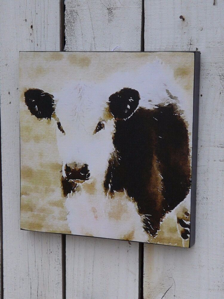 Black & White Cow Farm Animal Canvas Wall Picture