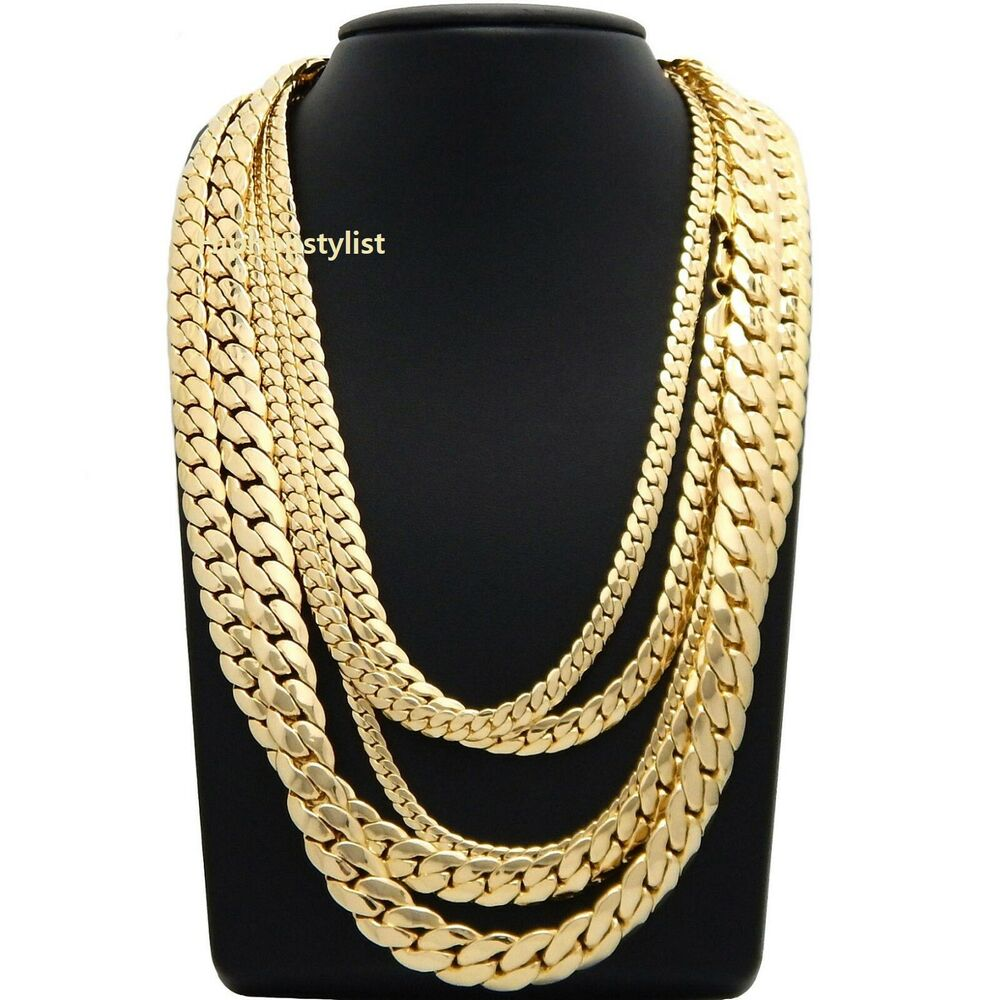"Mens Miami Cuban link Chain 5mm to 12mm 8"" 9"" 20"" 22"" 24"