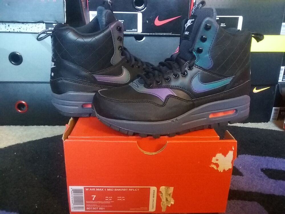 bc49f0e292c336 Details about Womens Nike Air Max 1 Mid Sneakerboot WP Reflective Black  Crimson 95 807307 001