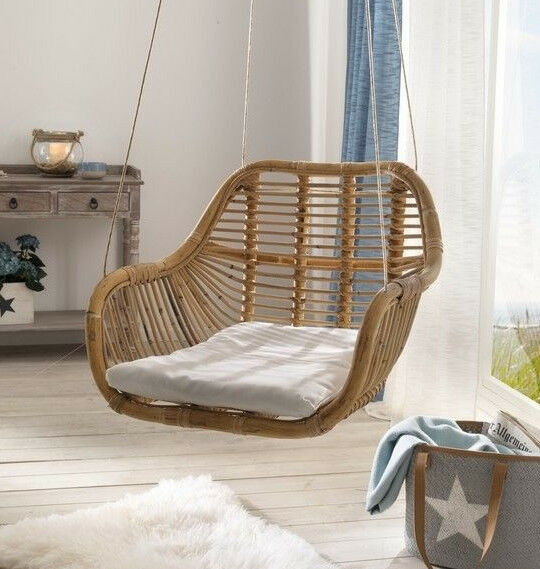 h ngesessel h ngesitz h ngestuhl inkl sitzkissen rattan korbsessel zum h ngen ebay. Black Bedroom Furniture Sets. Home Design Ideas
