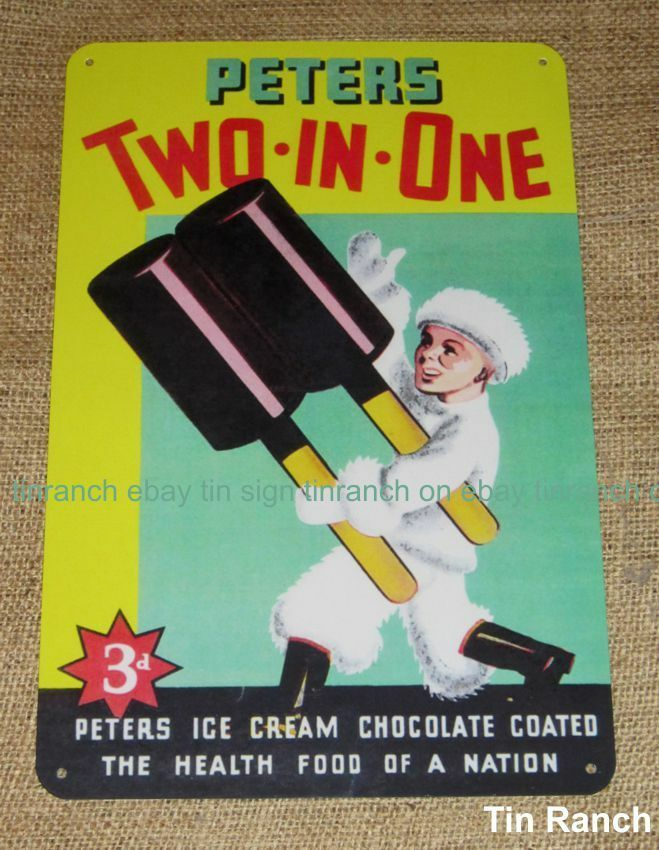 Peters Two In One Ice Cream Tin Sign Australian Vintage