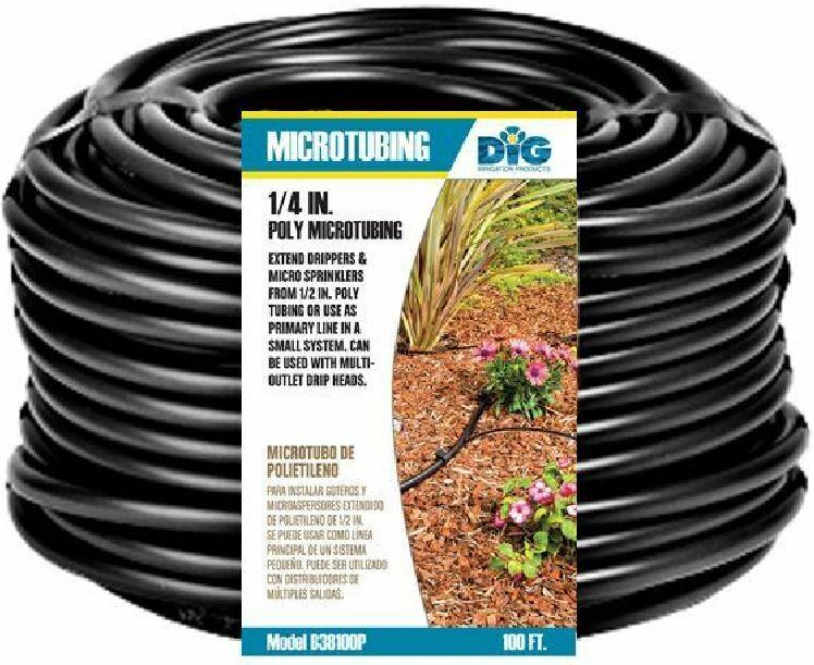 """1/4"""" Poly Micro Tubing 100' Drip Line Emitter Water ..."""