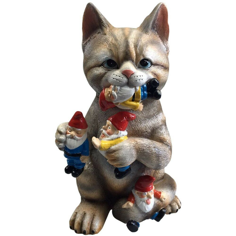 Funny Garden Gnomes: Cat Massacre Funny Knomes Sculpture
