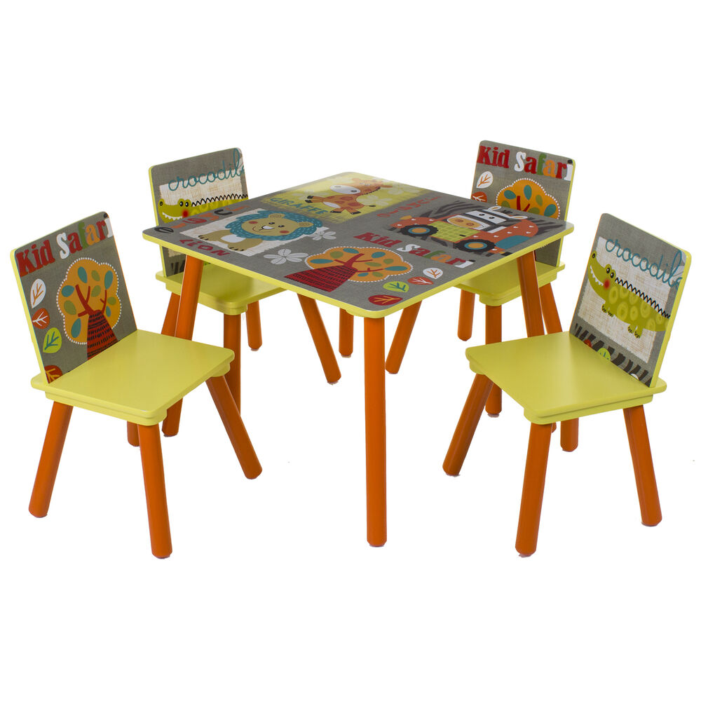 Kids wooden table chair set childrens bedroom playroom for Table design jungle