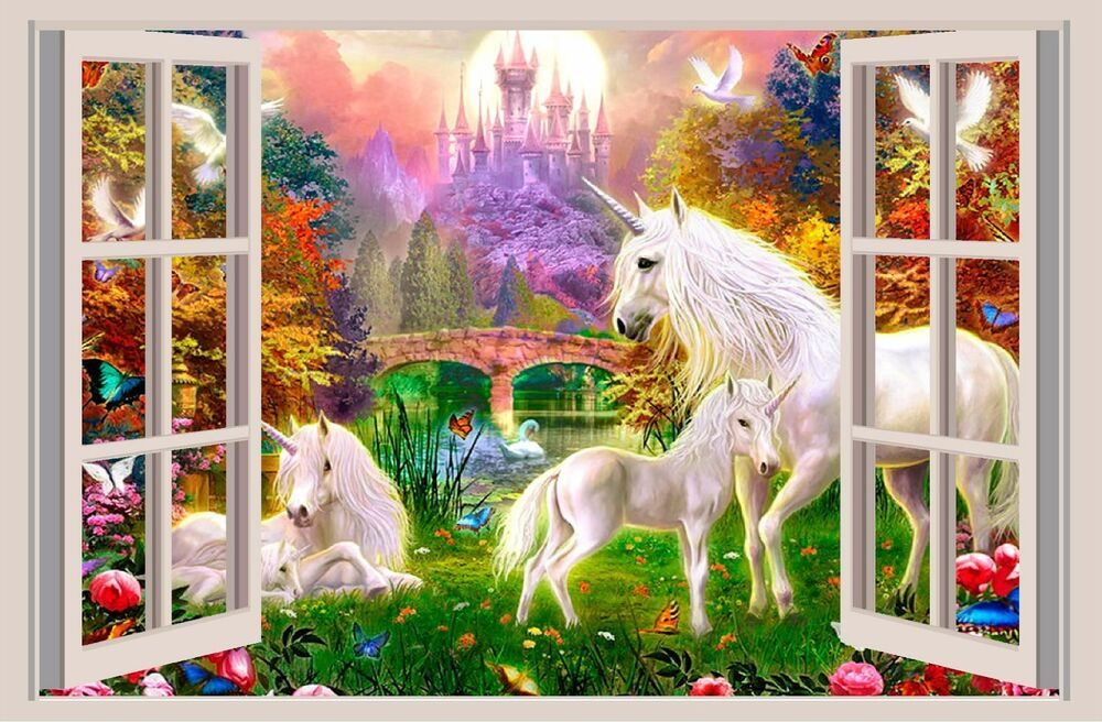 Unicorn Fantasy 3d Window View Decal Wall Sticker Art