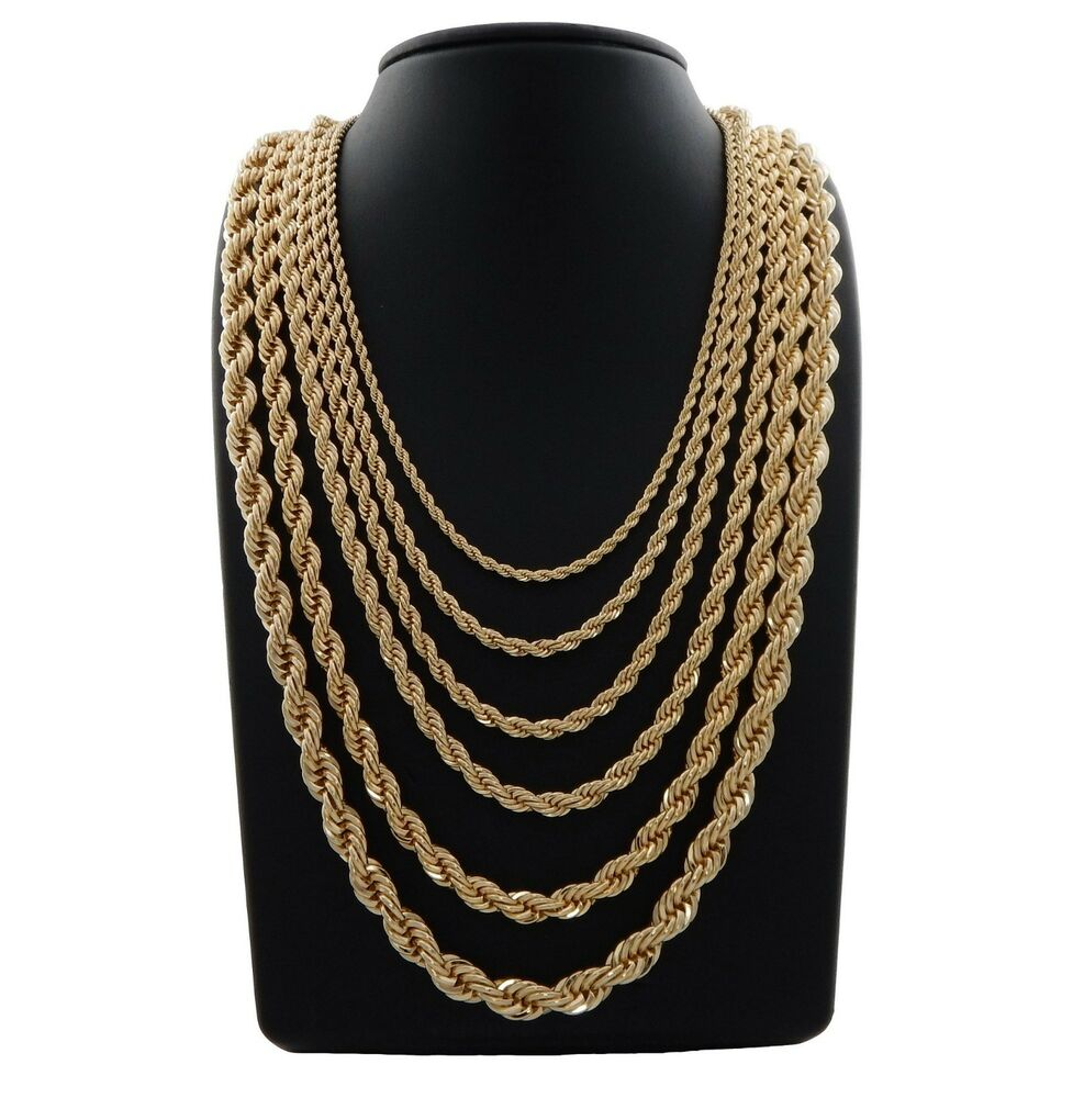 Mens Rope Chain Necklace 14k Gold Plated 2 5mm To 10mm 20
