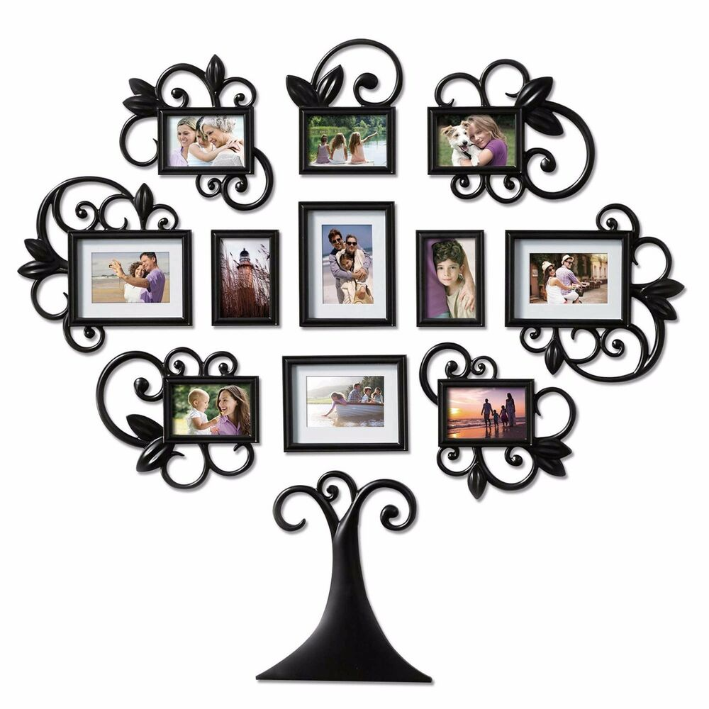 12 Piece Family Tree Photo Picture Frame Collage Set Black