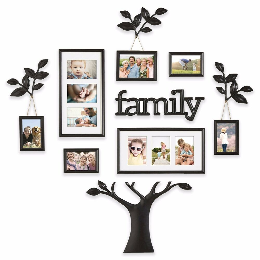 12 Piece Collage Picture Photo Family Tree Frame Set Black