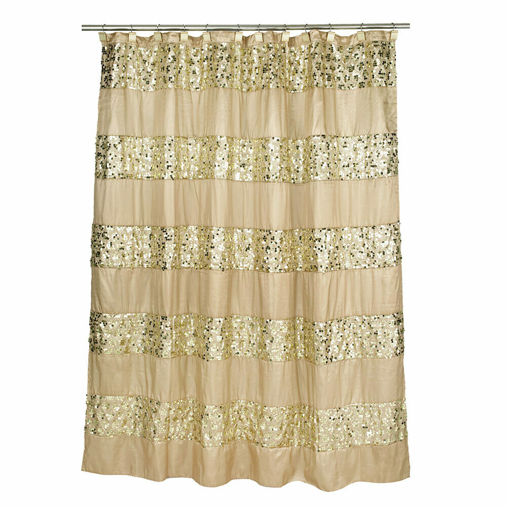 Popular Bath Sinatra Sequin Shower Curtain Champagne Gold